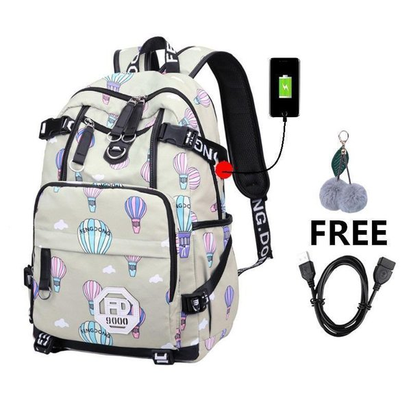 High Quality Fashion School Bag Waterproof Nylon Student Backpack USB Charging Jack Laptop Backpack Teen Girls School Bags