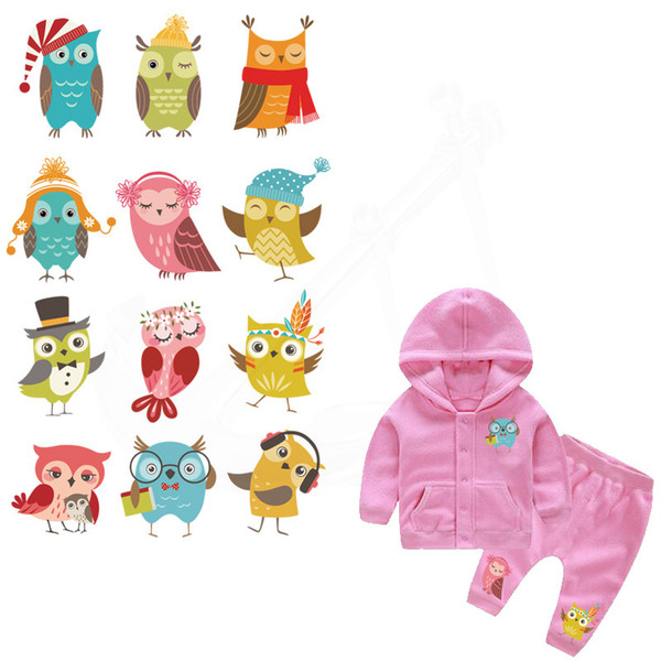 12 patterns/combo Cartoon Owl designs Children Clothing stickers DIY Patches Iron-on Transfers A-level Washable