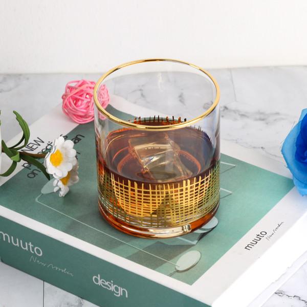 elegante wine oro rim bicchieri senza stelo chiare bicchiere di vetro whisky