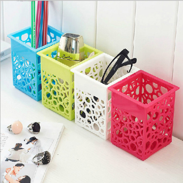 4 Colors Square Hollow Floral Pencil Holder Desk Pen Containers Organizer Plastic Pen Pot Makeup Brush Storage Collection Tool