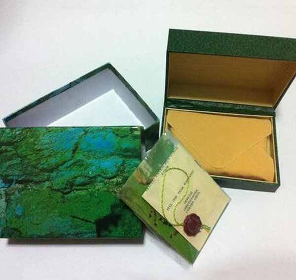 Nueva caja de reloj de lujo para hombre 3 calidad interior exterior mans relojes originales papeles tarjeta billetera cajas casos hombres Rol verde caja envío gratis