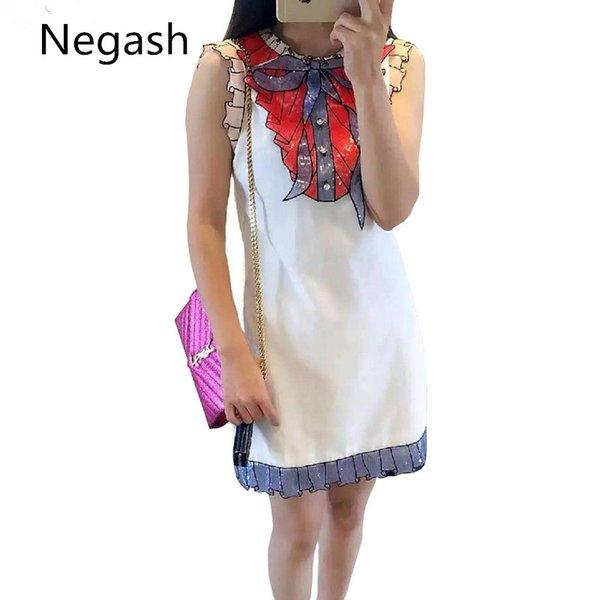 Yeni varış Lüks elmas payetli yay kolsuz dantel elbise mori kız Moda ince zarif mini elbiseler kadın