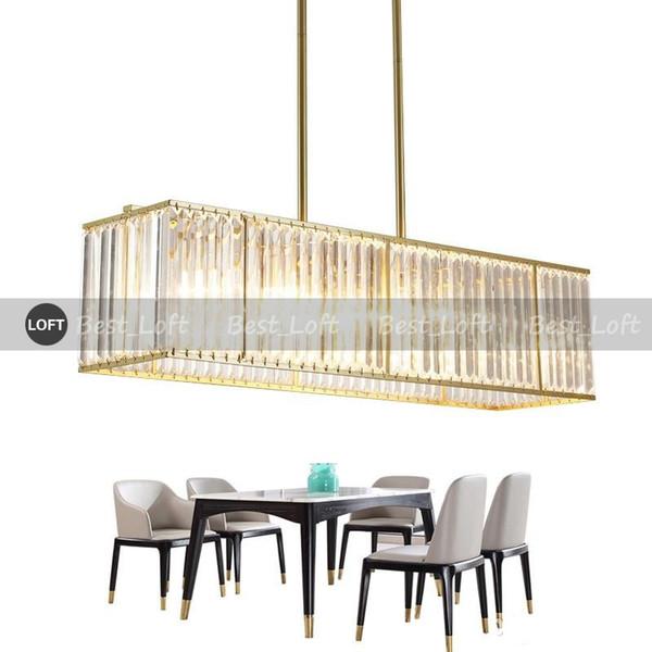 Moderner Kristallleuchter-Luxusluxus, der Gold LED-Kristalllicht-Rechteck-Küchen-Insel Cristal Beleuchtung hängt