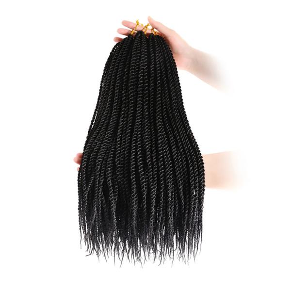 18 inch 3 Packs senegalese crochet braids 30strands/pack Synthetic Crochet Braiding Hair black senegalese twist hair
