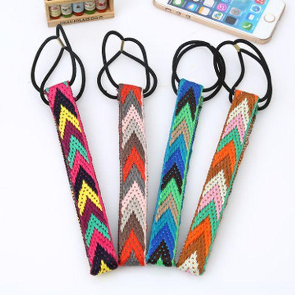 Headband Mulheres mão-tecido headband Triangular cor faixa de cabelo Meninas Boêmio cabelo nacional acessórios Fishion Hair Arcos