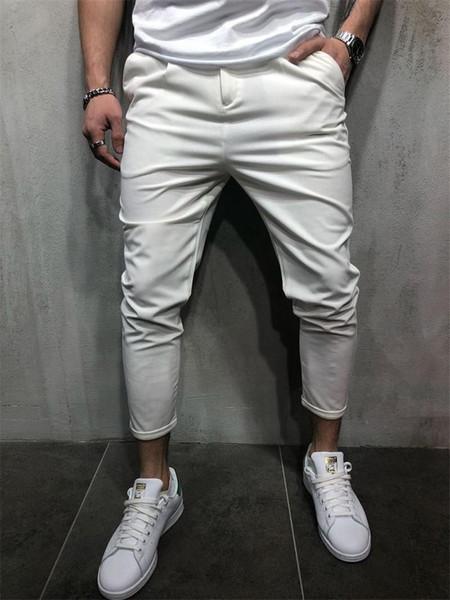 Erkek Tasarımcı Kalem Pantolon Moda Katı Fermuar Cepler Ile Rahat Homme Ince Pantolon Erkek Giysileri Uçmak