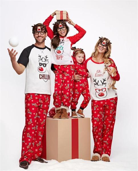 Navidad pijamas Navidad de la familia ropa a juego Familia pijamas Establece Padre hija de la madre Hijo Mismo vestido Elk impresión juego de ropa