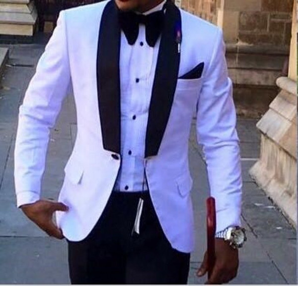 White Men Wedding Tuxedos Black Shawl Lapel Slim Fit Groom Tuxedos Popular Men Blazer 2 Piece Suit Prom/Dinner Jacket (Jacket+Pants+Tie)1621