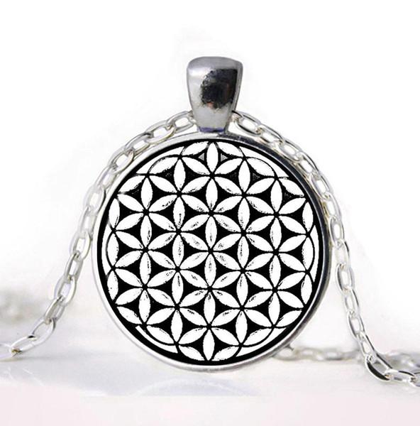 Atacado-Flower of Life Seed of Life Colar de pingente Mandala Hexágono Geometria Sagrada Jóias Fleur De Vie Glass Cabochon Necklace