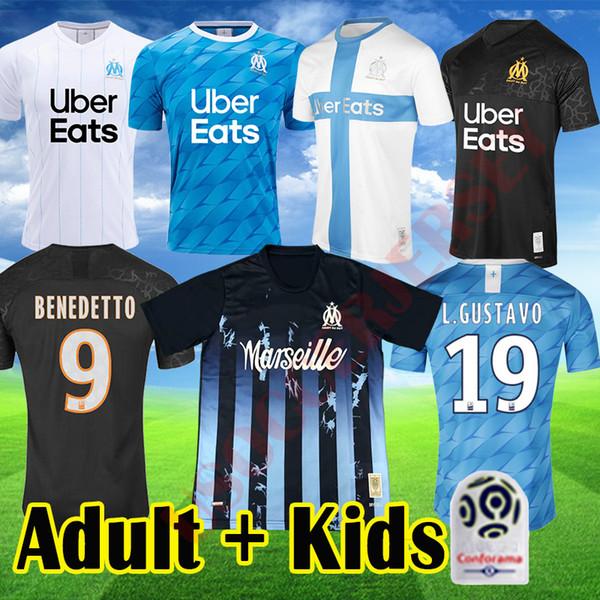 19 20 BENEDETTO Olimpik Marsilya futbol forması Çocuklar Üniforma PAYET OM Yetişkin uzakta Mavi Üçüncü Marsilya 120 L GUSTAVO THAUVIN Gömlek