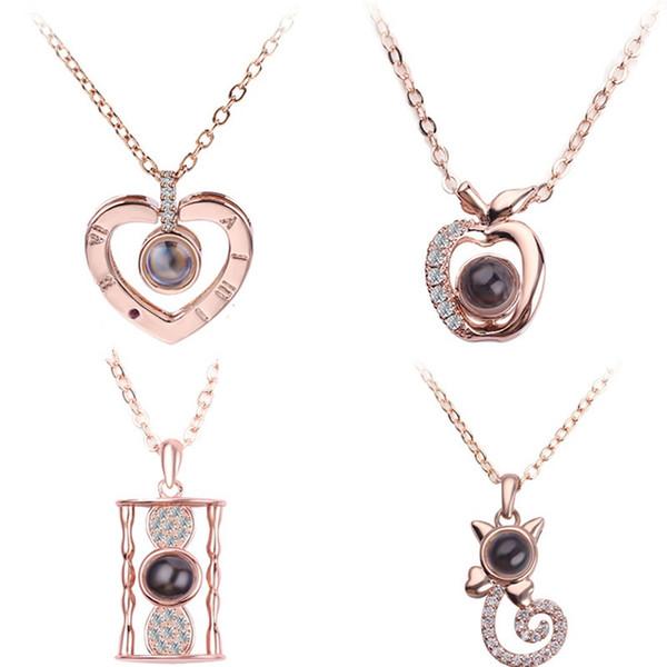 23Appearence 100 языков, я люблю тебя День Проекция ожерелье Romantic Love Memory Свадьба ожерелье Valnetine в подарок