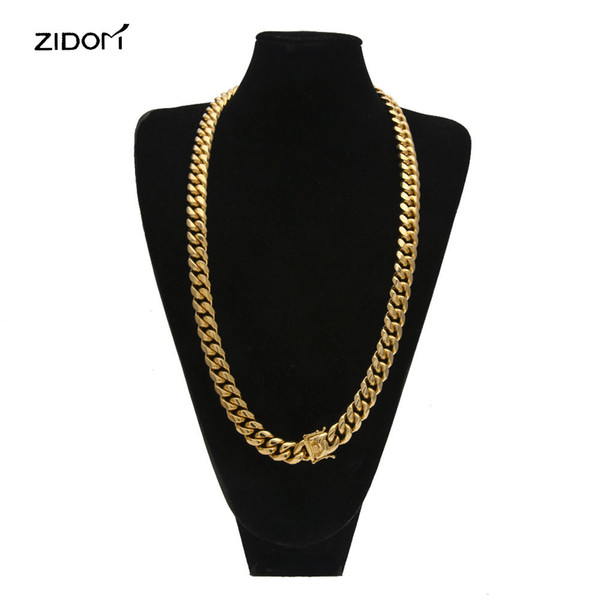 Men fashion hiphop chain necklace Stainless Steel 8mm-14mm width 30inch long cuban link chains necklaces men hip hop jewelry