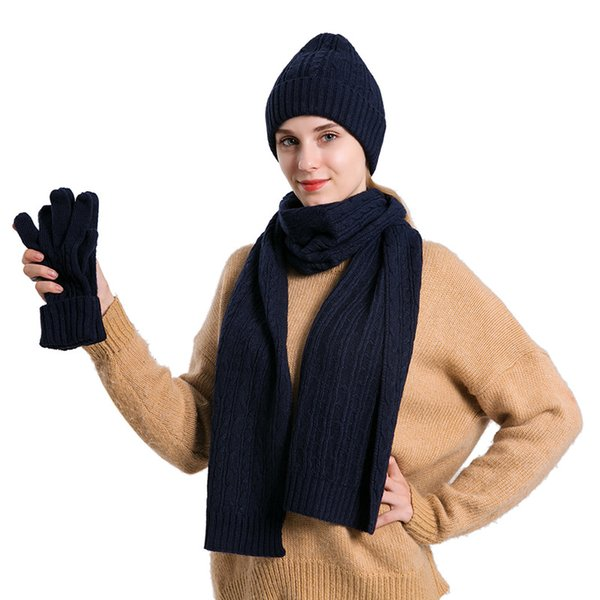 New Knitted Wool Three Sets Classic Twist Warm Hat Scarf Glove Suit