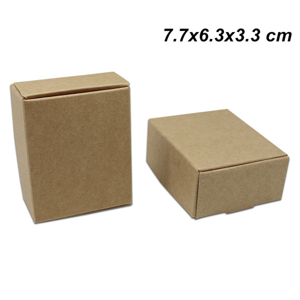 Brown 7.7x6.3x3.3 cm Paper Gift Crafts Party Favor Box for Birthday Kraft Paper Jewelry Craft DIY Box Carton Party Events Packaging Pack Box
