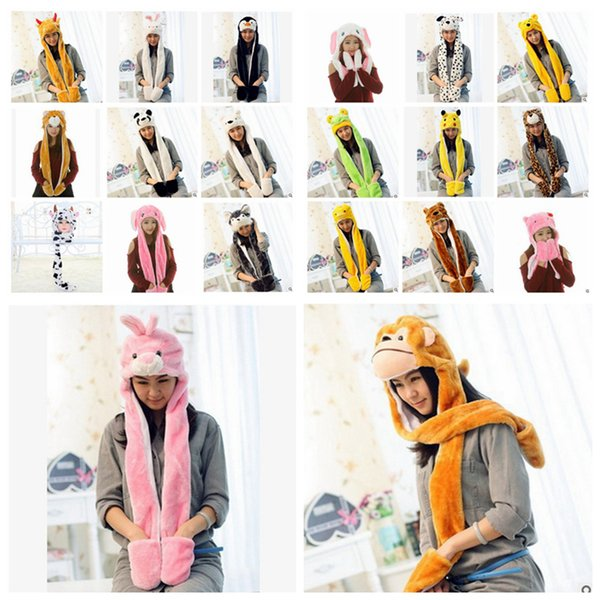 Cartoon Animal Plush Scarves Hats Pikachu Winter Women Children Costume Hat Cap With Long Scarf Gloves Earmuffs Christmas Hats Favor RRA2483