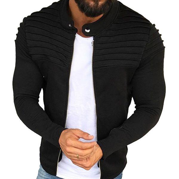LASPERAL Jacket Men Winter 2018 Autumn Streetwear Windbreaker Mens Clothes Pleats Slim Stripe Fit Raglan Zipper Long Sleeve Coat