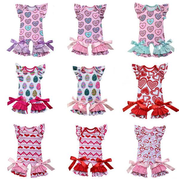 Coton Coton Imprimé Barboteuses 64 Conception Pyjamas Noeud papillon Bande Dessinée Oeufs De Pâques Imprimé Cœur Combinaison Jumpsuit Unique Breasted Onesies Filles Tenues 0-2T
