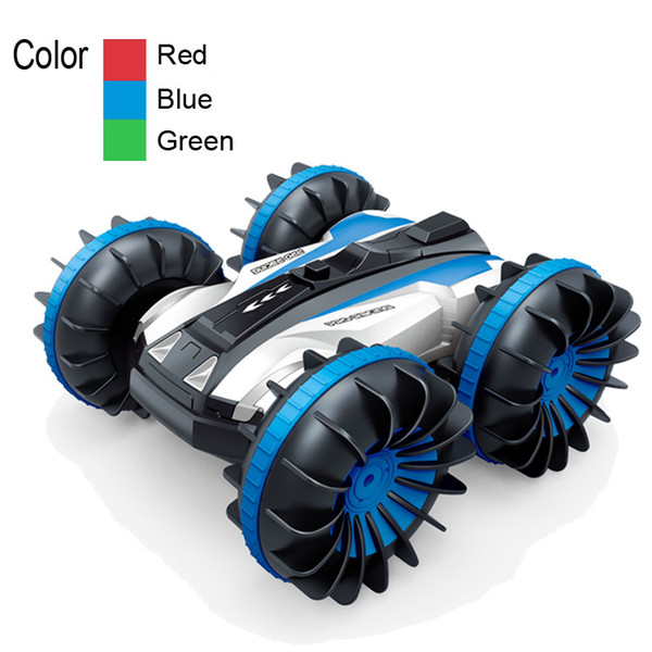 Four-drive remote control amphibious stunt vehicle 2.4G waterproof double-sided driving tank car toy remote-controlled double-sided car