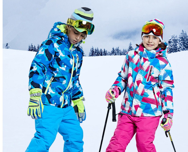 2018 new big brand Boys/Girls Ski Suit Waterproof Windproof Snow Pants+Jacket a Set of Winter Sports Child Thickened Clothes