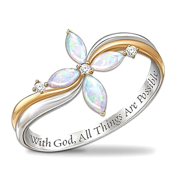 New Zircon Rings Fashion Cute Plant Double Color Cross Ring Four Leaves Flower Plant Women Wedding Engagement Gift Jewelry