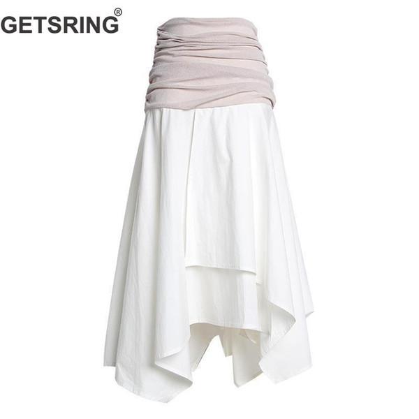 b05d3b013 Compre GETSRING Mujeres Falda Patchwork Arrugas Largas Faldas Blancas Moda  Cintura Alta Falda Irregular Todo El Partido Faldas Largas De Verano 2019 A  ...
