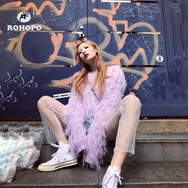 ROHOPO Streetwear mujeres Malla ver a través Pantalón estilo tubo bordado bengalas perla de la manera Mujer Harajuku pantalones Sheer lindo