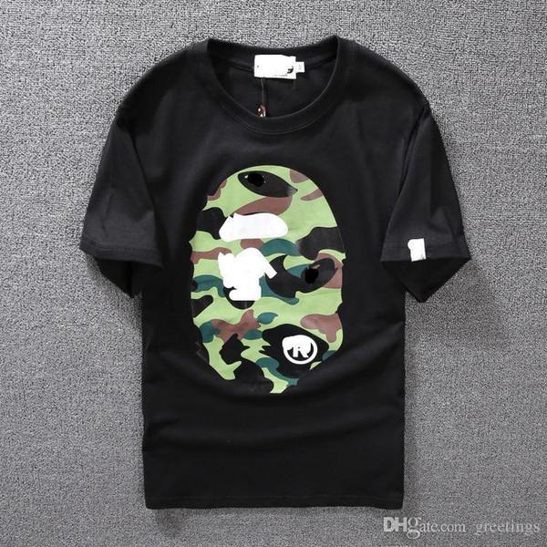 Men's Clothing Wear Tide Brand Camo Printing Men Women Lovers Fund Round Neck Short Sleeve T shirt