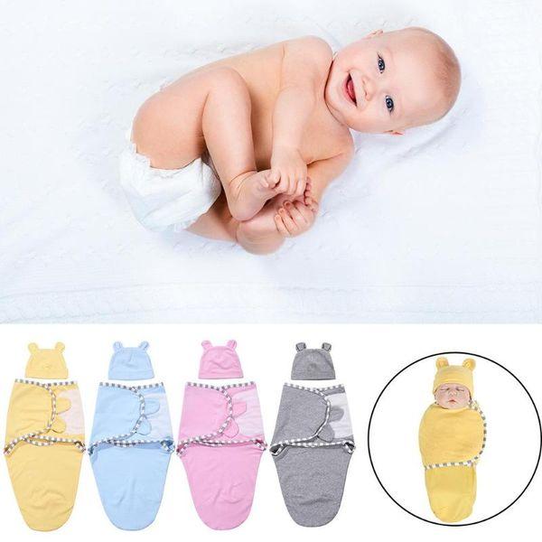 2 pezzi / set 0-3 m Baby Cotton Cap Swaddle Wrap Infant Hat Coperte Sacchi a pelo