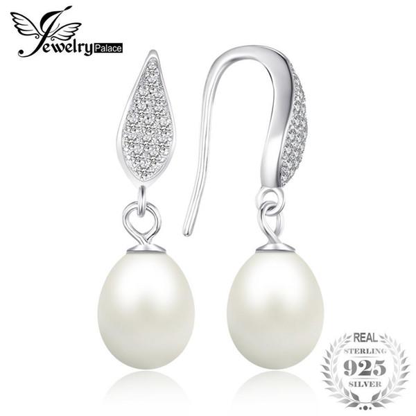 Jewelrypalace 925 plata esterlina de agua dulce cultivada 8-9 mm blanco perla cuelga los pendientes declaración joyería fina para mujeres T190626