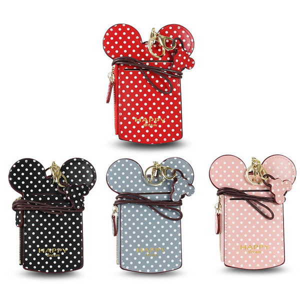 Cartoon Polka Dot Card Slot Inhaber Zip Fall Strap Neck String ID Karte Schlüsselbund Frauen Kinder Ohr Geldbörse Cash Pocket Bag dc36
