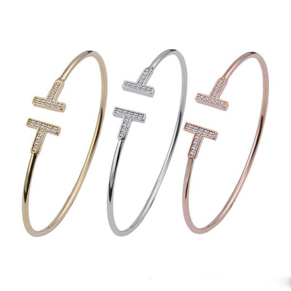 Brand fashion men and women jewelry Double T-shaped diamond couple cuff bracelets jewelry Valentine's Day gift