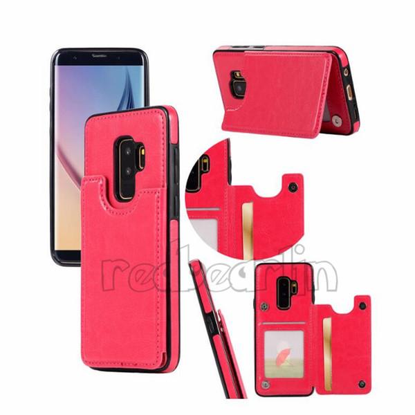 Samsung Galaxy S10 için iPhone Xs için Max Cüzdan Deri Kılıf kart Para Yuvaları Ince multi-fonksiyonel Folio KIMLIK Pencere Darbeye TPU Kapak