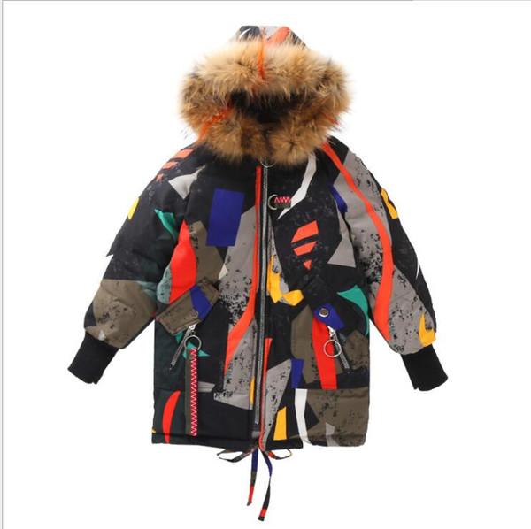 best selling Kids designer clothes girl big rge fur collar coat cotton coatchildrens cotton coat warm thick geometric hooded boys casual la