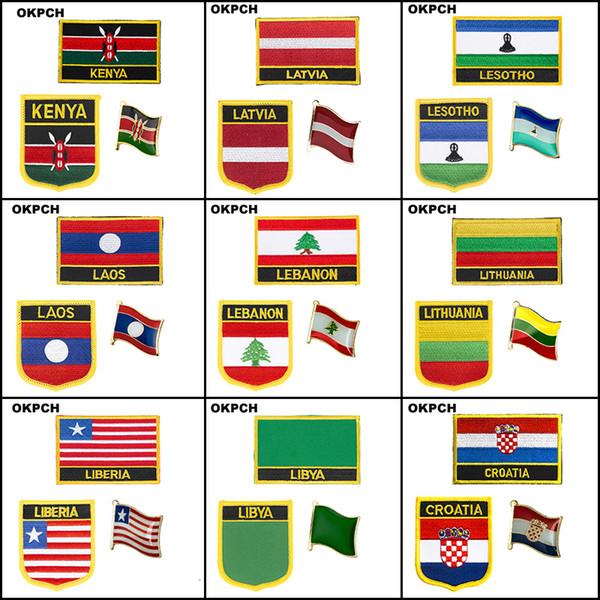 Bayrak Yamalar üzerinde Hırvatistan Kenya Cook Adaları Letonya Lesoto Laos Lübnan Litvanya Liberya Libya Nakış Demir