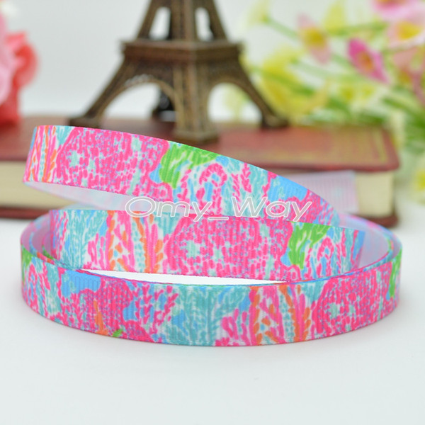 "Lilly Ribbons 3/8"" 9mm Flowers coral Printed Grosgrain Ribbon Hair Bow DIY Handmade Customization OEM 50YD"
