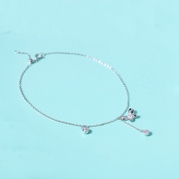 925 Sterling Silver Anklet Butterfly cubic zirconia Chain Ankelts For Women Fashion Girl Foot Bracelet Stering silver jewelry
