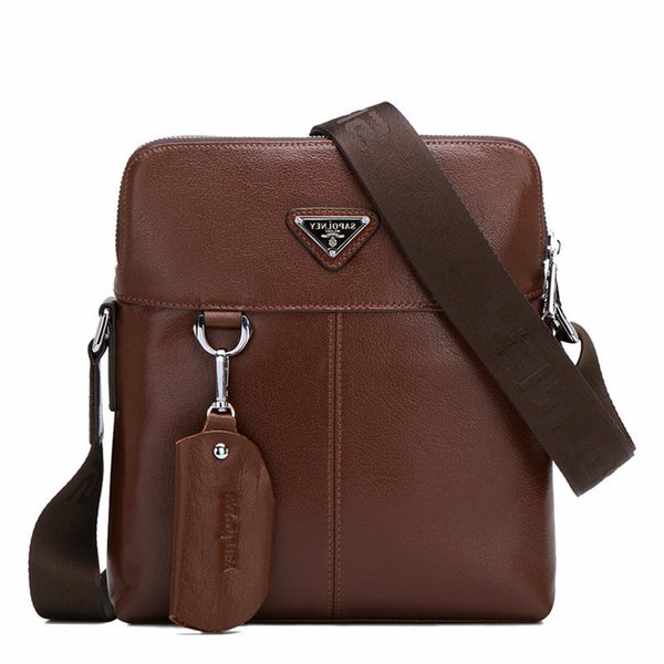 Pop2019 Leather Genuine Business Affairs Man Vertical Section Cowhide Single Shoulder Diagonal Male Package Messenger