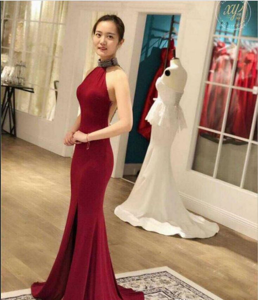 Sexy High Neck Burgundy Evening Dresses mermaid 2018 New Arrival Sheer illusion Back chiffon side Slit Long Formal Mermaid Prom Gowns