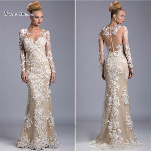 Modest Mermaid Abendkleider mit langen Ärmeln Spitze Appliques formelle Party Kleider bodenlangen Brautgast Kleid