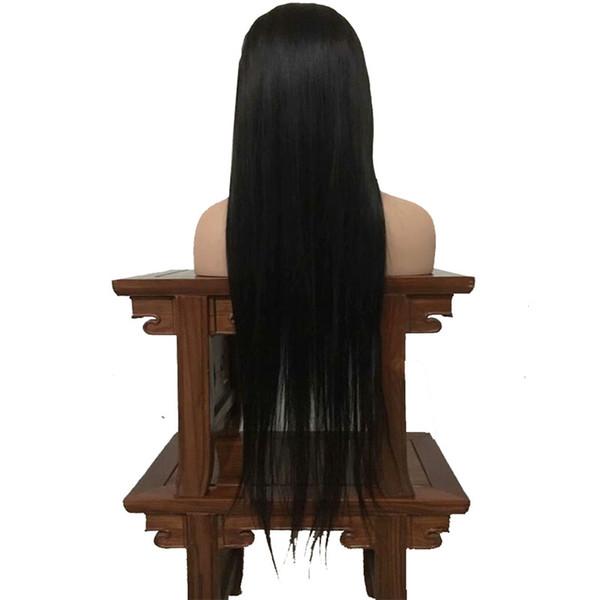 sin cola frente del cordón del pelo humano del color negro de largo recto natural wi peluca llena del cordón del pelo para la mujer americanos africanos 12-26inch resistente al calor