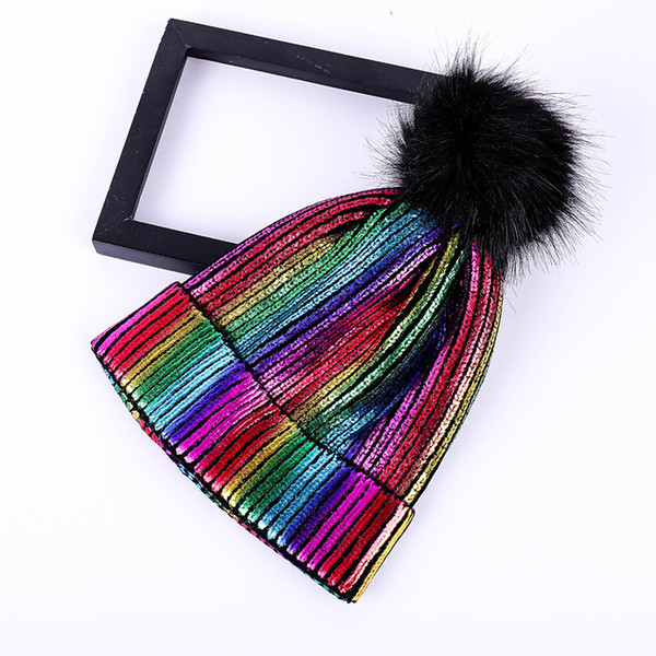 Winter Knit Cap Fur Pompom Shiny Hats Fashion Wool Beanies Shiny Thicken Caps Colored Ball Knit Cap GGA2418