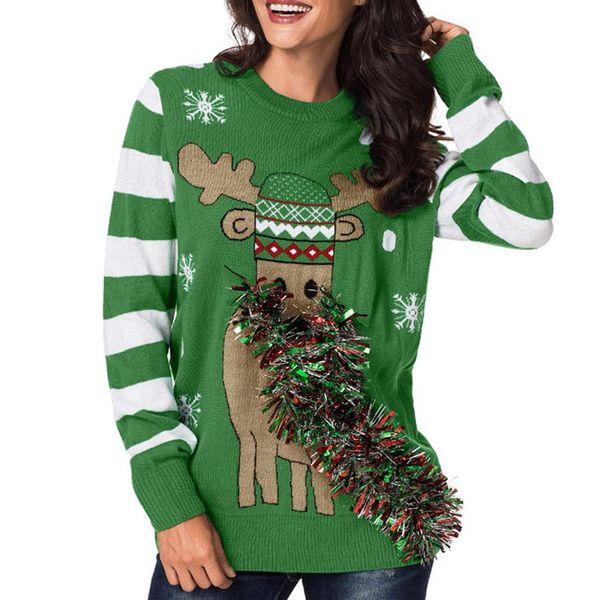 Moda dama de navidad Ciervos Cinta metálica cálida de las mujeres de punto de manga larga con cuello en O suéter Jumper de las mujeres Jerseys Tops