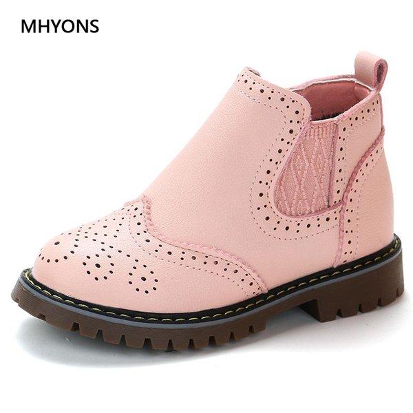 İlkbahar Sonbahar 2019 Çocuk Ayakkabı Kız Pembe Kısa Çizme çocuk Martin Boots El yapımı deri Çizme Bebek Ayakkabı Çocuk Sneakers CJ191213