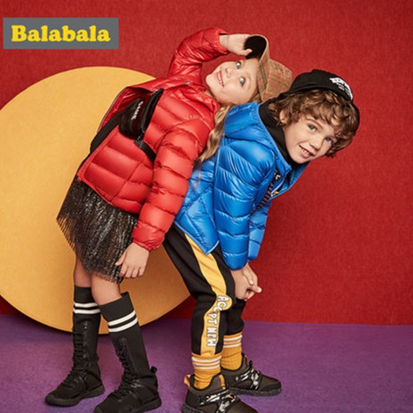 Balabala Winter Jacket girls boys Duck Down children fashion clothing jacket thick clothes for kids for 20 degrees below zero SH190910