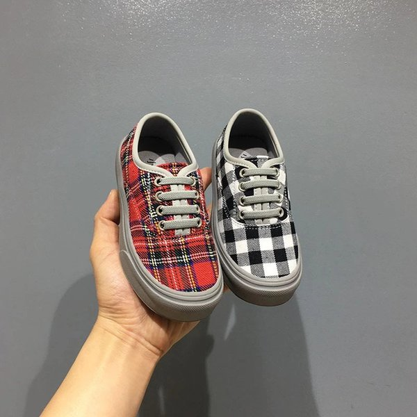 Kid Canvas shoesplaid black and red color baby boy girl korean style flat shoes sneaker EU 26-37 high quality