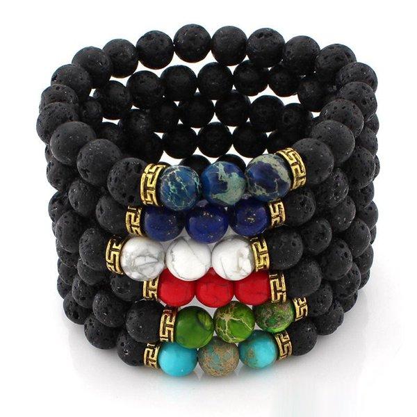 6 Diseños Lava Rock Beads Charms Pulseras Mujeres Esencial Difusor de aceite Piedra natural Brazalete moldeado para hombres s Chakra Artesanía Joyería