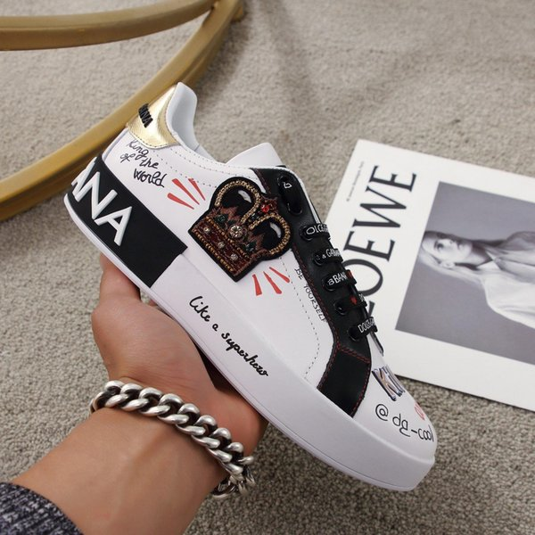 High quality 19DOLCE Mens designer shoes PORTOFINO SNEAKERS WITH PATCH white ace fashion men women Shoes