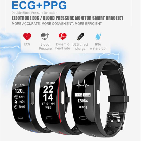 P3 EKG PPG Smart Watch Blutdruck Herzfrequenz-Monitor Schlaf Pedometer Sports Armband Smartwatch IP67 für IOS Android Xiaomi