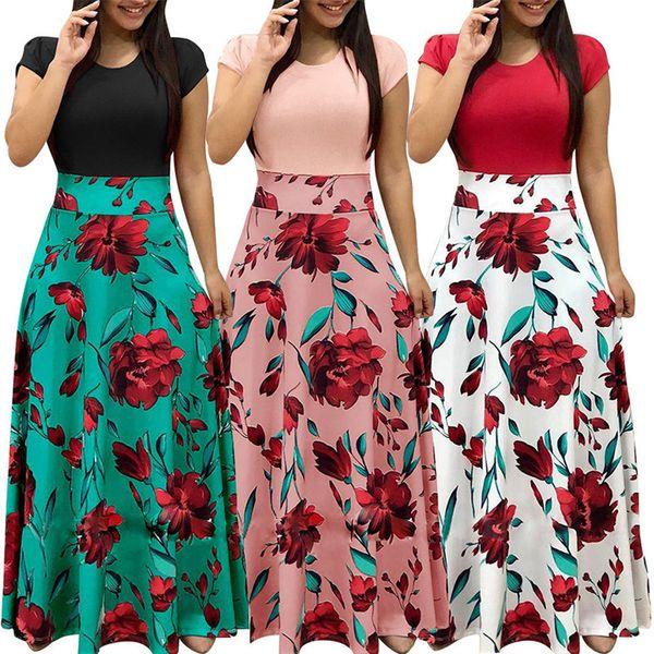 653dfdea6 Women Floral Slim Print Short Sleeve Boho Dress Evening Gown Party Long  Maxi Dress Summer Sundress