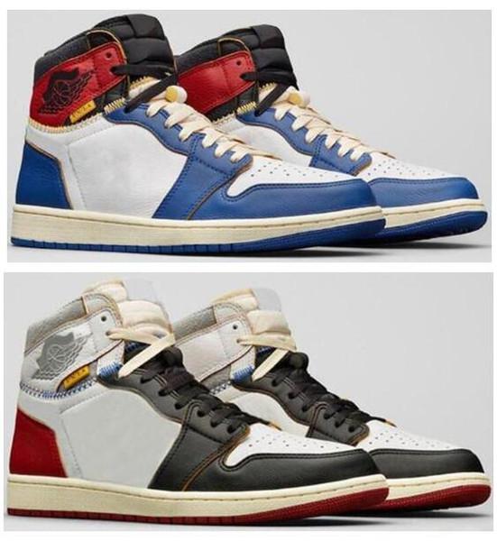 Yüksek Kaliteli Birliği LA x 1 Yüksek OG NRG Beyaz Fırtına Mavi Varsity Kırmızı Kurt Gri Basketbol Ayakkabıları Erkekler 1 s Ile Sneakers Kutusu